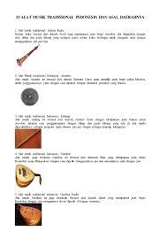 55 alat musik tradisional indonesia, asal daerah dan cara. 33 Alat Musik Tradisional Indonesia Dan Asal Daerahnya
