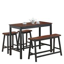 4 Pcs Solid Wood Counter Height Dining Table Set Kitchen Dining