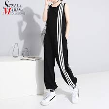 2019 <b>Korean Style Women</b> Summer Long Black Jumpsuit Romper ...