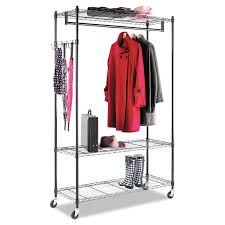 alera wire shelving garment rack coat rack stand alone rack black steel w casters alera details