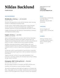 Contact And Resume Niklas Backlund