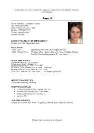 Housekeeping Resume Format Hotel Housekeeper Sample For Supervisor