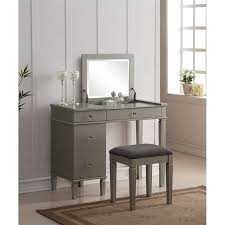 bedroom vanity table stirring set in silver 580435sil01u interior design 0