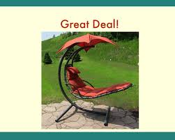 sunnydaze floating chaise lounger swing chair with canopy 55 inch wide you