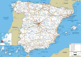 The map shows spain and surrounding countries with international borders, the national capital madrid, provinces and autonomous communities capitals, major cities, main roads, railroads, and major airports. Detailed Clear Large Road Map Of Spain Ezilon Maps
