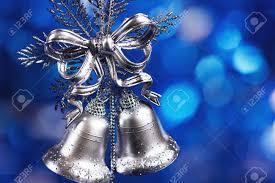 Silver Bells Christmas Decorations Christmas Decoration With Silver Bells With Blue Blurred 2