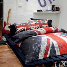 catherine lansfield rock uk duvet set reversible union jack guitar