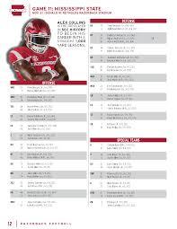Arkansas Football Depth Chart Mississippi State Game Depth Chart Arkansas Razorbacks