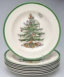 Spode Christmas Tree (Green Trim) Dinner Plate (Set Of 8)