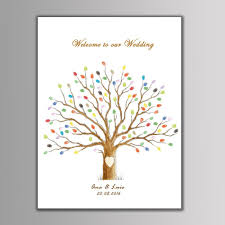 wedding tree guest book alternative thumb print guest book wedding tree fingerprint guestbook tree poster