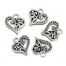 details about 30pcs antique tibetan silver alloy hollow heart charms pendants findings crafts
