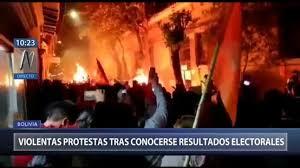 Resultado de imagen de disturbios por fraude electoral en Bolivia