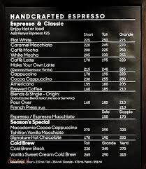 starbucks coffee menu. Contemporary Menu Starbucks Menu Inside Coffee Menu R