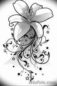 черно белый эскиз тату лилия 09032019 005 Tattoo Sketch