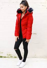 Lottie Quilted Padded Short Hooded Puffer Coat with Tipped Fur ... & Lottie Quilted Padded Short Hooded Puffer Coat with Tipped Fur Trim in Red Adamdwight.com