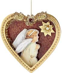 paper angel w feather wings in heart shadow box ornament a