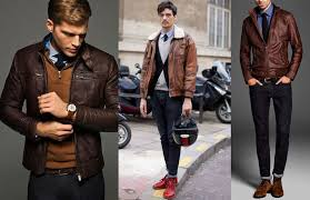 the brown leather jacket can be dressed up in very cool ways should the occasion call for it by simply wearing it over a white shirt and tie you can score
