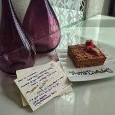 sheraton grand hotel dubai the personalised message and cake for my sisters birthday