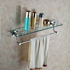 bathroom tempered glass shelf: wall mounted single glass shelf with towel bar bathroom shelves with tempered glass chrome finished bathroom accessories