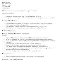 Child Care Resume Objective Sample Caregiver Resume Child Care