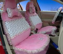 name ayrg bowknot fl lace universal auto car seat covers velvet plush full set 19pcs pink