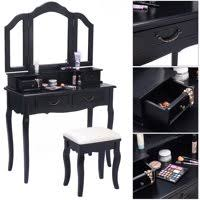 black and white vanity. Delighful And Product Image Costway Tri Folding Mirror Bathroom Wood Vanity Set Makeup  Table Dresser 4 Drawers  Stool On Black And White 0