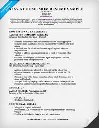 Resume Example Resumes For Stay At Home Moms Returning To Work