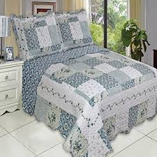 Buy Country Cottage Blue Floral Patchwork Quilt Coverlet Set King ... & Country Cottage Blue Floral Patchwork Quilt Coverlet Set King Size Oversized Adamdwight.com