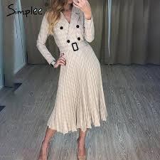 GOTCHA pleated belt plaid dress <b>women Elegant office</b> ladies ...
