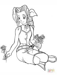 Aeris From Final Fantasy Vii Coloring Page Free Printable Coloring