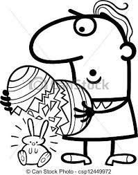 Uova Uomo Pasqua Cartone Animato Coniglietto Uovo Colorato