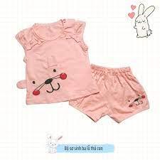 Đồ sơ sinh bộ sơ sinh 0-14 tháng bé gái ba lỗ thoáng mát thấm hút mồ hôi  100% cotton đáng yêu hình thỏ con Kidcat shop tại Hà Nội