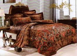 rust orange brown paisley double queen king size bed quilt doona duvet cover set a2305