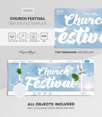 Flyer Header Church Festival Twitter Header Psd Template