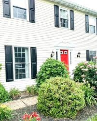 black shutters red door yellow house with and gray white trim picture h shutters yellow house