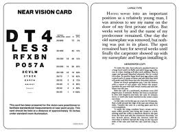 Jaeger Number 1 Test Chart Sentence And Letter Test Card Near 4 To 72 Type