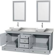 Accmilan 80 Inch Double Sink Bathroom Vanity In Grey Finish White
