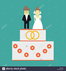 Wedding Cake With Rings And Toppers Bride And Groom Vector Greeting