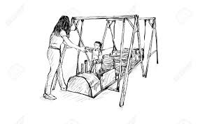 Sketch of kids playground on public space isolated illustration 74829194 sketch of kids playground on public