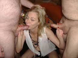 Blonde mature wife gangbang