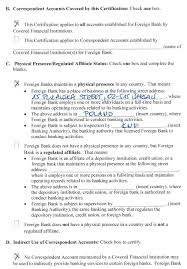 Certification Regarding Correspondent Accounts For Foreign Banks