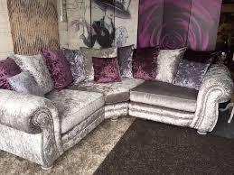 scs sofas shrewsbury glif hepburn crushed velvet fabric ter back cushions corner sofa silver okaycreations all