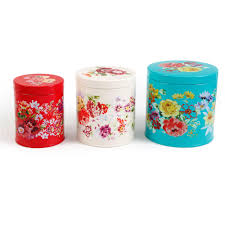 Pioneer Woman Kitchen Remodel The Pioneer Woman Garden Meadow 3 Piece Tin Canister Set Walmart