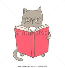 cute doodle kitty cat reading a book in gles adorable clip art education