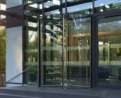 glass revolving door installed by ea group uk