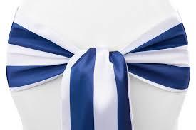 50 pieces stripe satin chair sash approx 7 w x108 l edge serged navy blue white com