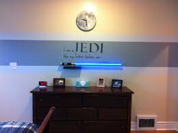 Star Wars bedroom idea. Red stripe instead since my boy loves red