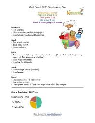 Chef Solus 2200 Calorie Menu Plan For Kids 9 Years And
