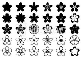白黒の桜花びら かわいい和風柄透過pngイラスト No 1345809無料