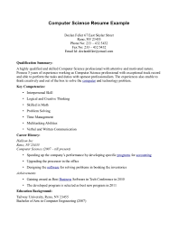 resume sample for computer technician isabellelancrayus resume sample for computer technician computer science resume getessayz computer science example